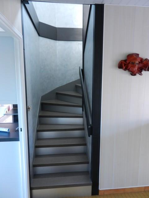 Escalier n escalier bois et contremarches couleur inox moreux sarl - Couleur escalier bois ...